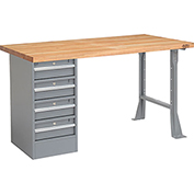 "72"" W x 30"" D Pedestal Workbench W/ 4 Drawers, Maple Butcher Block Square Edge - Gray"