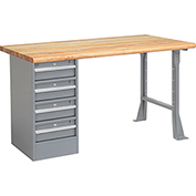 "72"" W x 30"" D Pedestal Workbench W/ 4 Drawers, Maple Butcher Block Safety Edge - Gray"