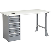"60"" W x 30"" D Pedestal Workbench W/ 4 Drawers, ESD Safety Edge - Gray"