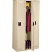 Tennsco Steel Locker STK-121272-C 214 - Single Tier w/o Legs 3 Wide 12x12x72 Unassembled, Sand