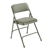 "1-1/4"" Upholstered Folding Chair - Double Braced Gray Fabric & Frame - Pkg Qty 4"