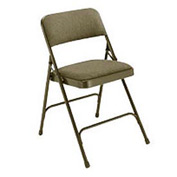 "1-1/4"" Upholstered Folding Chair - Double Braced Brown Fabric & Frame - Pkg Qty 4"
