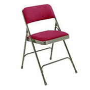 "1-1/4"" Upholstered Folding Chair - Double Braced Burgundy Fabric & Gray Frame - Pkg Qty 4"