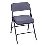 "2"" Upholstered Folding Chair - Double Braced Gray Fabric & Black Frame - Pkg Qty 2"
