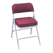 "Steel Folding Chair - 2"" Fabric Seat - Double Brace - Burgundy - Pkg Qty 2"