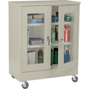 Sandusky Mobile Clear View Counter Height Storage Cabinet TA2V362442 -36x24x48, Putty