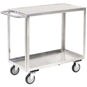 Jamco Stainless Steel Stock Cart XB124 2 Shelves Flush Top Shelf 24x18