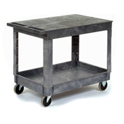 Best Value Plastic Flat Top Shelf Service & Utility Cart 5 Inch Rubber Casters