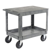 "Best Value Plastic Flat Top Shelf Service & Utility Cart 8"" Pneumatic Caster"
