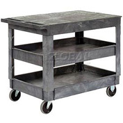 "Best Value Plastic Flat Top Shelf Service Cart 2 Tray Shelves 5"" Casters"