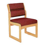 Single Chair Without Arms Light Oak Burgundy Fabric