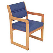 Single Chair With Arms Medium Oak Blue Fabric