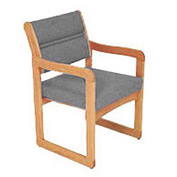 Single Chair With Arms Light Oak Gray Fabric
