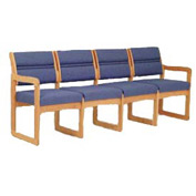4 Seater Reception Sofa With 2 End Arms Medium Oak Blue Fabric