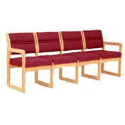 Chair/4 Seat Without Center Arms Light Oak Burgundy