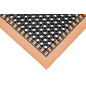 "7/8"" Thick Hi-Visibility Safety Mat with Borders on 3 Sides - 38x52 Orange"