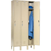 Capital™ Locker Single Tier 12x18x72 3 Door Ready To Assemble Tan
