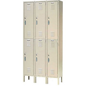 Capital® Locker Double Tier 12x18x36 6 Door Ready To Assemble Tan