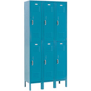 Paramount® Locker Double Tier 12x15x36 6 Door Ready To Assemble Blue