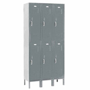 Paramount® Locker Double Tier 12x18x36 6 Door Ready To Assemble Gray
