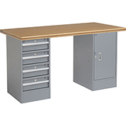 "72"" W x 30"" D Pedestal Workbench W/4 Drawers & 1 Cabinet, Shop Top Safety Edge - Gray"
