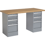 "72"" W x 30"" D Pedestal Workbench W/ 6 Drawers, Shop Top Safety Edge - Gray"