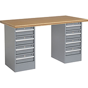 "60"" W x 30"" D Pedestal Workbench W/ 8 Drawers, Shop Top Safety Edge - Gray"