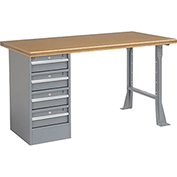 "60"" W x 30"" D Pedestal Workbench W/ 4 Drawers, Shop Top Safety Edge - Gray"