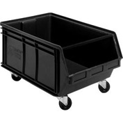 Quantum Mobile Magnum Plastic Stackable Storage Bin QUS275MOB 16-1/2 x 18 x 11 Black - Pkg Qty 3