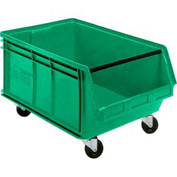 Quantum Mobile Magnum Plastic Stackable Storage Bin QUS275MOB 16-1/2 x 18 x 11 Green - Pkg Qty 3