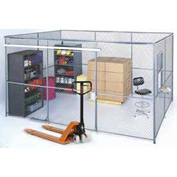 Wire Mesh Partition Security Room 10x10x8 without Roof 3 Sides w  Window