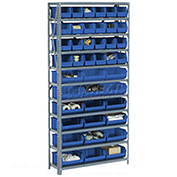 Steel Open Shelving with 21 Blue Plastic Stacking Bins 6 Shelves - 36x12x39