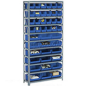 Steel Open Shelving with 17 Blue Plastic Stacking Bins 6 Shelves - 36x12x39