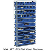 Steel Open Shelving with 42 Blue Plastic Stacking Bins 11 Shelves - 36x12x73