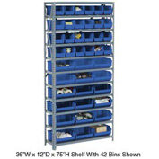 Steel Open Shelving with 28 Blue Plastic Stacking Bins 10 Shelves - 36x18x73