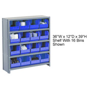 Steel Closed Shelving with 17 Blue Plastic Stacking Bins 6 Shelves - 36x12x39