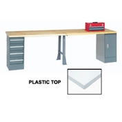 "120"" W x 30"" D Extra Long Production Workbench, Plastic Laminate Square Edge - Gray"