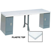 "96"" W x 30"" D Extra Long Production Workbench, Plastic Laminate Square Edge - Gray"