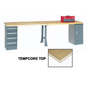 "144"" W x 30"" D Extra Long Production Workbench, Shop Top Square Edge - Gray"