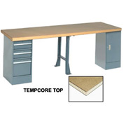 """144"""" W x 30"""" D Extra Long Production Workbench, Shop Top Square Edge - Gray"""