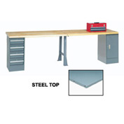 """96"""" W x 30"""" D Extra Long Production Workbench, Steel Square Edge - Gray"""