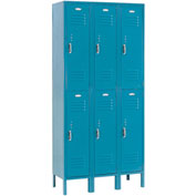 Paramount® Locker Double Tier 12x12x36 6 Door Assembled Blue