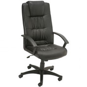 Executive Office Chair with Head Rest - Leather - High Back - Black