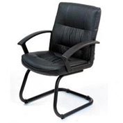 Executive Guest Chair - Leather - Mid Back - Black