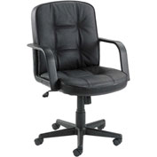 Executive Leather Chair - Mid Back - Black