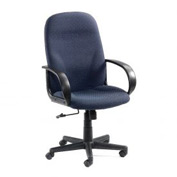 Office Chair with Fixed Arms - Designer Fabric - High Back - Navy