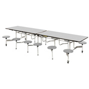 "Virco® Folding Mobile Cafeteria Table with Seats - 144""L - Gray Nebula Top - 12 Gray Seats"
