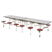 "Virco® Folding Mobile Cafeteria Table with Seats - 144""L - Gray Nebula Top - 16 Burgundy Seats"