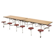 "Virco® Folding Mobile Cafeteria Table with Seats - 144""L - Medium Oak Top -12 Burgundy Seats"