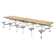 "Virco® Folding Mobile Cafeteria Table with Seats - 144""L - Medium Oak Top - 12 Gray Seats"